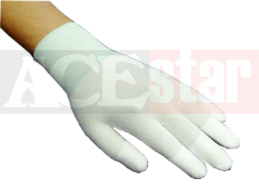 White Nylon Fingertips PU Gloves