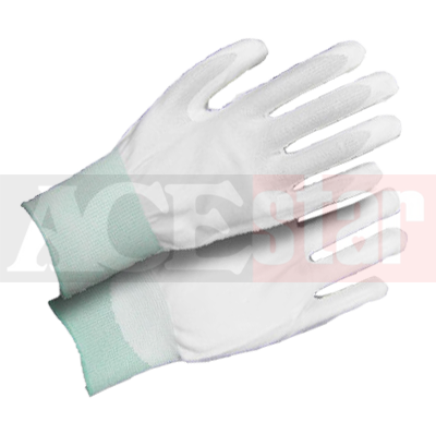 White Nylon Palm PU Coated Gloves